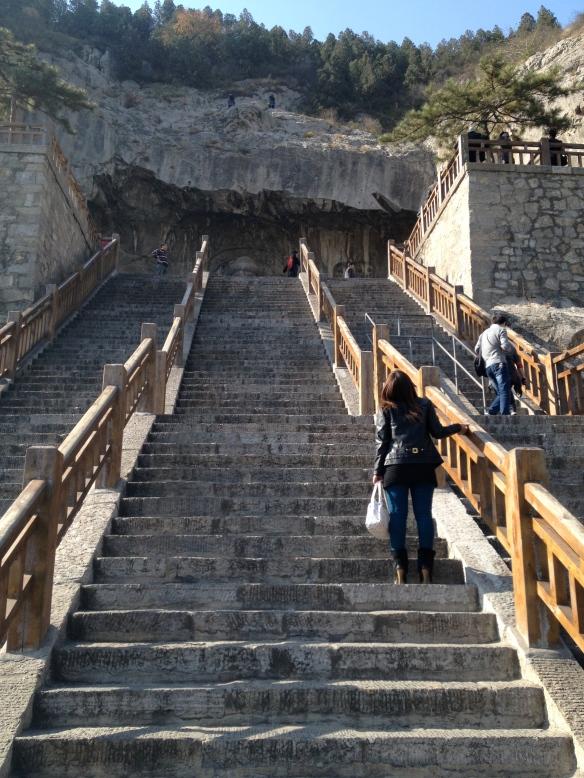 steep stairs at Longmen