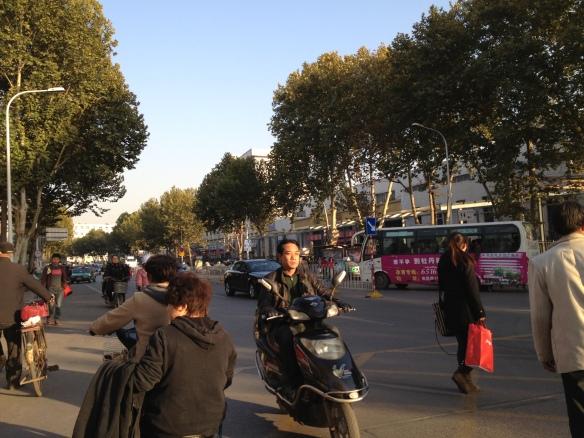 crossing the street in Luoyang