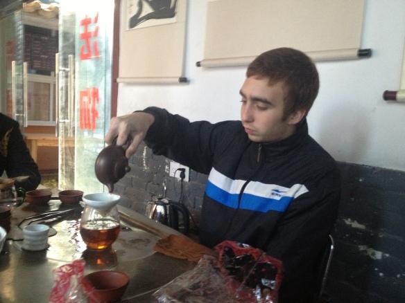 Felix serving tea